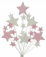 Christening cake topper decoration in pale pink and white - free postage